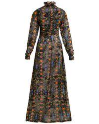 Preen By Thornton Bregazzi - Ameline High-neck Silk-blend Devoré Dress - Lyst