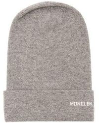 Moncler Logo Cashmere Beanie Hat in Black - Lyst 2e73cab53fba