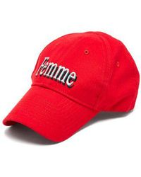 Balenciaga - - Femme Embroidered Cotton Cap - Womens - Red - Lyst