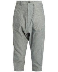 Yohji Yamamoto Regulation - Dropped-crotch Cropped Oxford-cotton Trousers - Lyst