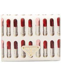 Prada - Lipstick-print Leather Compact Wallet - Lyst
