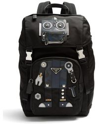 Prada - All Designer Products - Robot Stud And Leather-embellished Nylon Backpack - Lyst