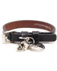 Alexander McQueen   Skull-charm Leather Bracelet   Lyst