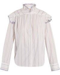 Bliss and Mischief - Blanket-stitch Striped Cotton Shirt - Lyst