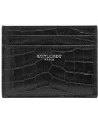 Saint Laurent - Crocodile-effect Leather Cardholder - Lyst