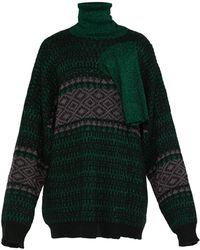 Raf Simons Triple Neck Oversized Jacquard Sweater - Green