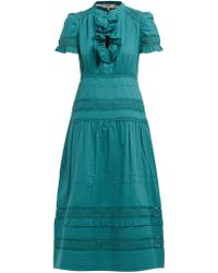 Sea Lilli Ruffled Cotton Broderie Anglaise Midi Dress - Green