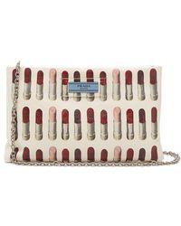 Prada - Lipstick-print Leather Clutch - Lyst