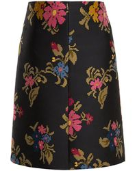 RED Valentino - Pixelated-floral Jacquard A-line Skirt - Lyst
