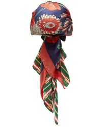 Gucci - - Logo And Floral Print Headscarf - Womens - Navy - Lyst