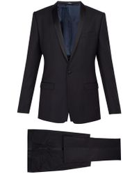 Dolce & Gabbana - Gold Fit Satin Striped Wool Blend Suit - Lyst
