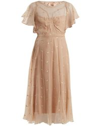 N°21 - Floral-embroidered Chiffon Dress - Lyst