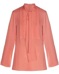 Etro | Tie-neck Ruffled-front Silk-crepe Blouse | Lyst