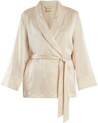 Morpho + Luna - Amelie Sandwashed Silk Short Robe - Lyst