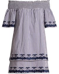 Bliss and Mischief - Off The Shoulder Gingham Cotton Dress - Lyst
