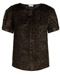 MASSCOB - Short-sleeved Round-neck Patterned Velvet Top - Lyst