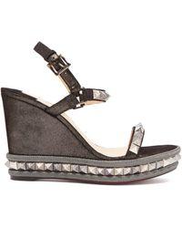 Christian Louboutin - Pyraclou 120 Leather Flatform Sandals - Lyst
