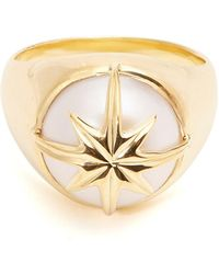 Theodora Warre - Star Motif Pearl And Gold Plated Ring - Lyst