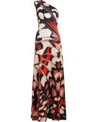 Alexander McQueen - Butterfly Print One Shoulder Silk Satin Gown - Lyst