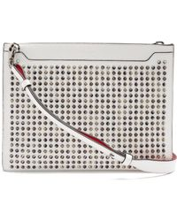 Christian Louboutin - Skypouch Spike Embellished Leather Pouch - Lyst
