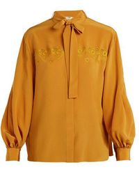 Fendi - Heart-embroidered Tie-neck Silk Shirt - Lyst