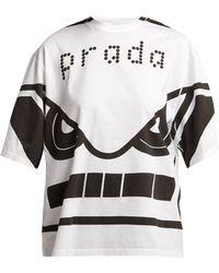 Prada - Face Print Cotton T Shirt - Lyst