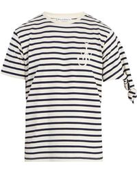 J.W.Anderson - Logo-embroidered Knotted-sleeve Cotton T-shirt - Lyst