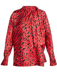 Valentino - Leopard And Tiger Print Silk Blouse - Lyst