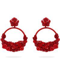 Oscar de la Renta - Floral Embellished Clip On Earrings - Lyst