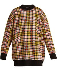 MSGM - Checked Wool-blend Jumper - Lyst