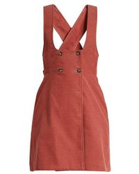ALEXACHUNG - Double-breasted Cotton-corduroy Pinafore Dress - Lyst