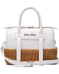 Miu Miu - Wicker And Leather Shoulder Bag - Lyst