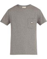 Maison Kitsuné - Tricolour Fox Patch Crew Neck Cotton T Shirt - Lyst