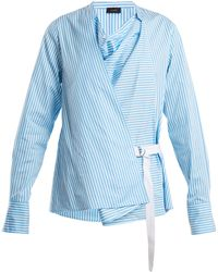 JOSEPH - Arran Striped Cowl Neck Wrap Shirt - Lyst
