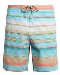 Faherty Brand - Geometric-striped Print Swim Shorts - Lyst