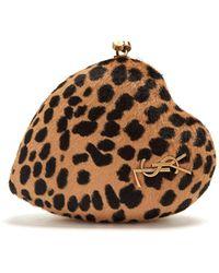 Saint Laurent | Love Box Leopard-print Calf-hair Clutch | Lyst