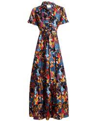 La Doublej Editions - Long & Sassy Tie-waist Floral-print Silk Dress - Lyst