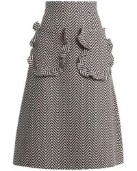 House of Holland - Ruffle-trimmed Zigzag Cotton-blend Skirt - Lyst