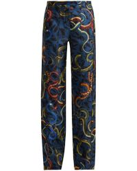 F.R.S For Restless Sleepers - Zelos Snake Print Silk Trousers - Lyst
