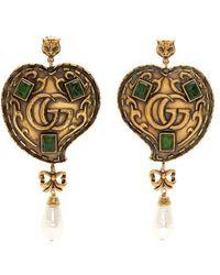 Gucci - Feline Gg-heart Drop Earrings - Lyst