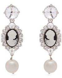 Miu Miu - Cameo, Faux-pearl And Crystal Clip-on Earrings - Lyst