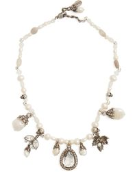 Alexander McQueen - Crystal And Charm-embellished Pearl Choker - Lyst