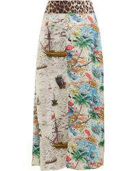 La Prestic Ouiston - Jupon Printed Silk Twill Midi Skirt - Lyst