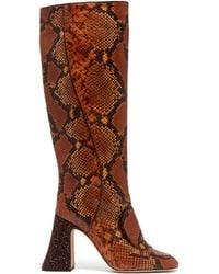 Rochas - Pascal Glitter Heel Faux Python Knee High Boots - Lyst