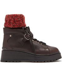 Miu Miu - Knitted Sock Style Lace Up Leather Ankle Boots - Lyst