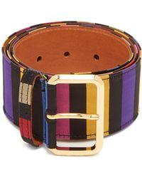 Etro - Striped Satin Belt - Lyst