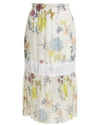 See By Chloé - - Floral Paper Bag Midi Skirt - Womens - White Multi - Lyst