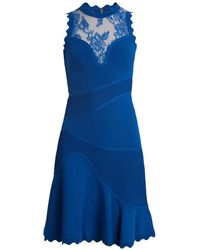 Elie Saab - Sleeveless Embroidered Tulle Contrast Knit Dress - Lyst