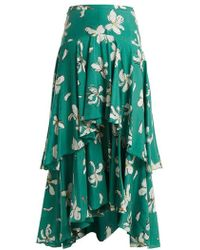 Isa Arfen - Tiered Magnolia-print Silk Skirt - Lyst