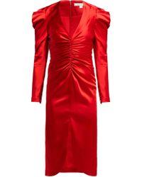 Jonathan Simkhai Puff Sleeve Ruched Satin Midi Dress